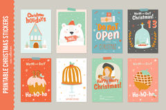 Collection of 8 Christmas gift tags and cards Stock Image