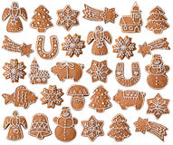 Collection of Christmas gingerbread cookies Stock Photos