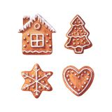 Collection of Christmas gingerbreads, house, chrismas tree, snowflake and heart.