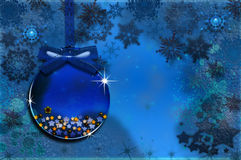 Collection Christmas - Glass Blue. Christmas ball with ornaments in Christmas Snowy Landscape Stock Photography