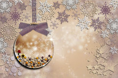 Collection Christmas - Glass Pink baby. Christmas ball with ornaments in Christmas Snowy Landscape Royalty Free Stock Images