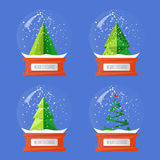 Collection of Christmas Glass Snow Globes. Christmas snow globes. Variety forms Christmas trees abstract vectors. Glass souvenir with Xmas attributes and Royalty Free Stock Image