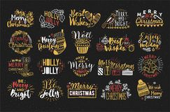 Collection of Christmas handwritten lettering with hand drawn holiday decorations. Festive colorful vector inscriptions. On dark background Royalty Free Stock Image
