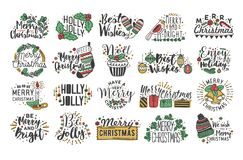 Collection of Christmas handwritten lettering with hand drawn holiday decorations - holly leaves, light garland, candles. Knitted socks, bells and gifts Royalty Free Stock Images