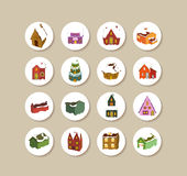 Collection Of christmas houses Labels And Icons Royalty Free Stock Images