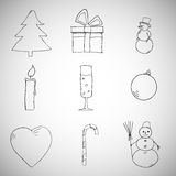 Collection of Christmas icons/objects Stock Images