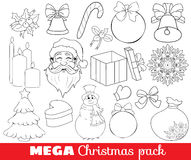 Collection of Christmas icons/objects. Vector outline mega pack, set of christmas icons, santa, gift, snowflake, candles, bow, black and white Royalty Free Stock Image