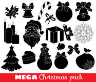 Collection of christmas icons. Vector outline mega pack, set of christmas icons, santa, gift, snowflake, candles, bow, black and white Stock Photos
