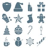 Collection of Christmas icons. Winter holiday elements. Stock Photography