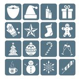 Collection of Christmas icons. Winter holidays elements. Royalty Free Stock Image