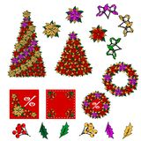 Collection of Christmas images.Star, Christmas flower, tree, mistletoe, leaves, berries. Royalty Free Stock Photo