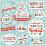 Collection of Christmas Labels, Ornaments and Ribbons Stock Photos