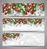 Collection Christmas and  New Year banners with fir branches and red berries. Vector. Illustration Royalty Free Stock Photo