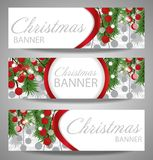 Collection Christmas and  New Year banners with fir branches and red berries. Stock Images