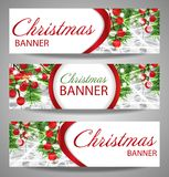 Collection Christmas and  New Year banners with fir branches and red berries. Royalty Free Stock Photography