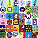Collection of 36 Christmas and New Year card templates. Posters set. Vector illustration. Template for greeting scrapbooking, congratulations, invitations Stock Photo
