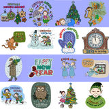 Collection of 16 Christmas and New Year card templates. Posters set. Vector illustration. Template for greeting scrapbooking, congratulations, invitations Royalty Free Illustration