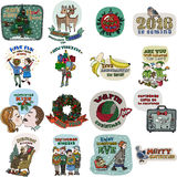 Collection of 16 Christmas and New Year card templates Royalty Free Stock Image