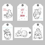 Collection Christmas and New Year cute gift tags.Creative Hand Drawn bears for winter holidays.Vector design Royalty Free Stock Image