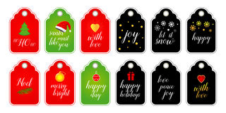 Collection of Christmas and New Year cute ready-to-use gift tags. Set of 12 printable holiday label. Vector format. Collection of Christmas and New Year cute Stock Images