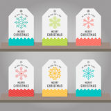 Collection of Christmas and New Year gift tags hanging decorati Royalty Free Stock Images