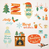 Collection of Christmas and New Year greeting phrases and elements. Stock Image