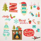 Collection of Christmas and New Year greeting phrases and elements Royalty Free Stock Images