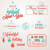 Collection of Christmas and New Year greeting phrases and elements Royalty Free Stock Image