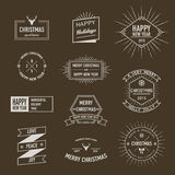 Collection of Christmas and New Year greeting phrases and elements in retro style. Royalty Free Stock Photography