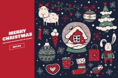 Collection of Christmas and New Year holiday elements. Large set of decorative holiday symbols: Christmas decorations, snow-covered house, cartoon hare and deer royalty free illustration