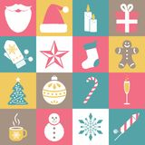Collection of Christmas icons. Winter holidays elements. Royalty Free Stock Photos