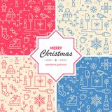 Collection of Christmas and New Year seamless patterns. Set of festive  textures for web or print. Collection of Christmas and New Year seamless patterns. Set Stock Photography