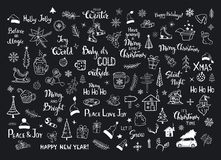 Collection of christmas new years decoration items doodles, xmas trees, santa hats, gift box, snowflakes, twigs, branches, house,. Car, mug, skates and hand Stock Images