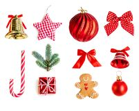 Collection of Christmas objects for mock up template design. Re stock photography