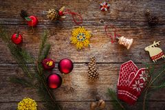 Collection of Christmas objects, ornaments, gifts and presents royalty free stock photography
