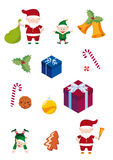 Collection of christmas objects. Set of Christmas elements and icons. Dear Santa Claus, Santa's helpers, gifts, sweets and Christmas decorations. Merry Christmas Royalty Free Stock Images