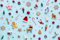 Collection of Christmas objects. Viewed from above stock photo
