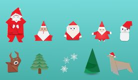 Merry Christmas with Japanese origami vector illustration