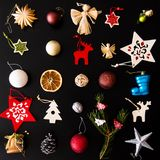 Collection of Christmas ornaments Royalty Free Stock Image