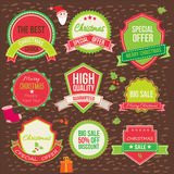 Collection of christmas ornaments and decorative. Elements, vintage frames, labels, stickers Stock Photo