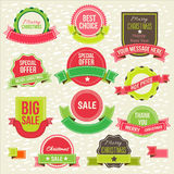 Collection of christmas ornaments and decorative Royalty Free Stock Image
