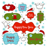 Collection of christmas ornaments and decorative elements, vintage frames, labels, stickers and ribbons Royalty Free Stock Images