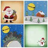 Collection of Christmas papercraft background. Royalty Free Stock Photo