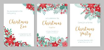 Collection of Christmas Party invitations, holiday event announcement or festive flyer templates decorated with red and. Green poinsettia plants, holly leaves Stock Photos