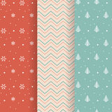Collection of Christmas patterns on pastel color backgrounds. For gift wrapping paper Stock Image