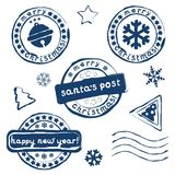 Collection of Christmas postage stamps. On white background. Eps 10 Royalty Free Stock Photos