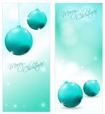 Collection of Christmas postcards. Collection of 2 decorative christmas postcards with decoration and font vector illustration