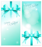 Collection of Christmas postcards. Collection of 2 decorative christmas postcards with decoration and font, template vector illustration