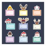 Collection of Christmas present tags with characters Royalty Free Stock Photography