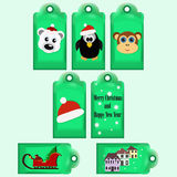 Collection of Christmas ready-to-use gift tags. Collection of Christmas and New Year cute ready-to-use gift tags. Printable hand drawn holiday labels. For Stock Illustration